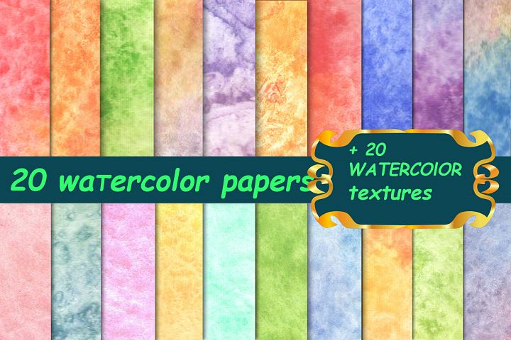 20 soft watercolor papers