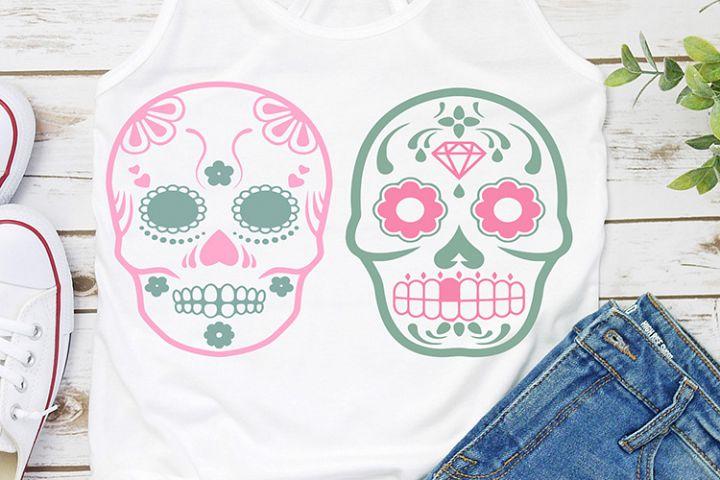 two designs sugar skull halloween