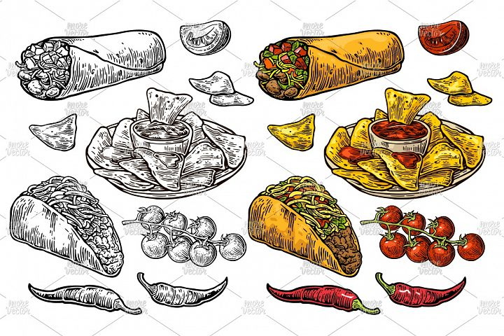 Mexican traditional food set Vector vintage engraving