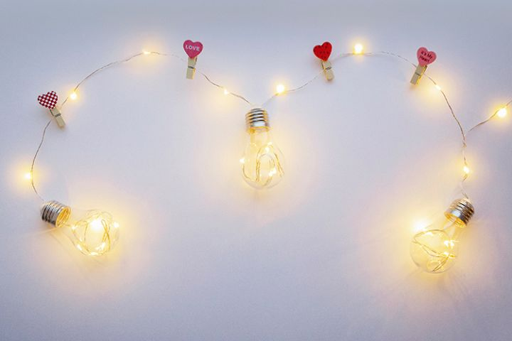 White background with yellow light lamps