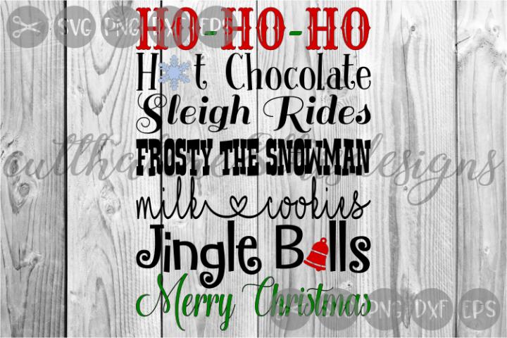 Christmas Word Confetti, Sleigh, Jingle, Cut File, SVG.