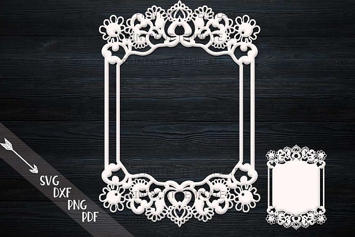 Wedding Photo Frame Laser paper cut template svg dxf pdf