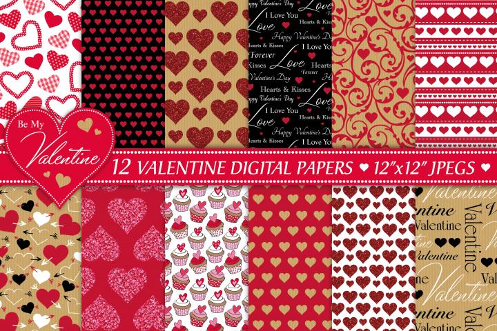 Valentine digital papers, Valentine patterns, Hearts