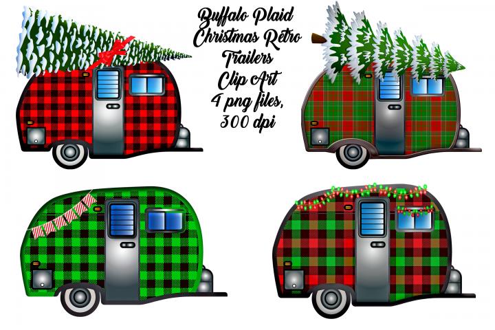 Christmas Buffalo Plaid Travel Trailers Clip Art