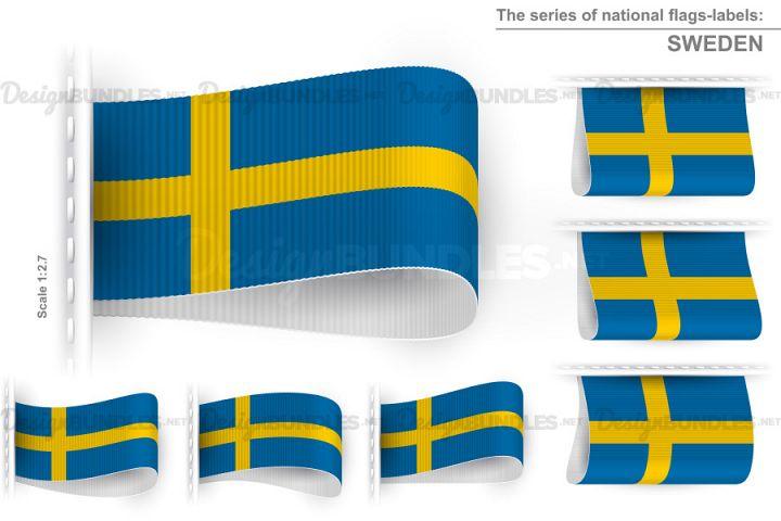 Vector Sweden Flag Tag Clothes Label Sticker Sewn Set