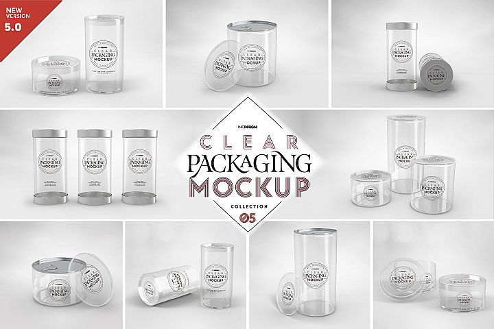 VOL.5 Clear Plastic Containers Packaging Mockup Collection