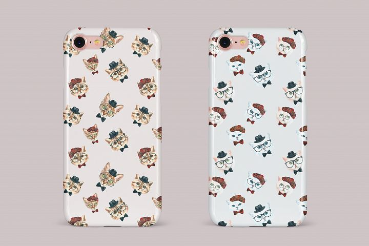 Cat watercolor patterns  - Free Design of The Week Design 14