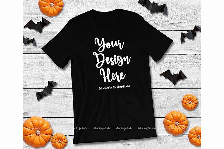 Halloween Black T-Shirt Mock Up, Fall Bella Canvas 3001