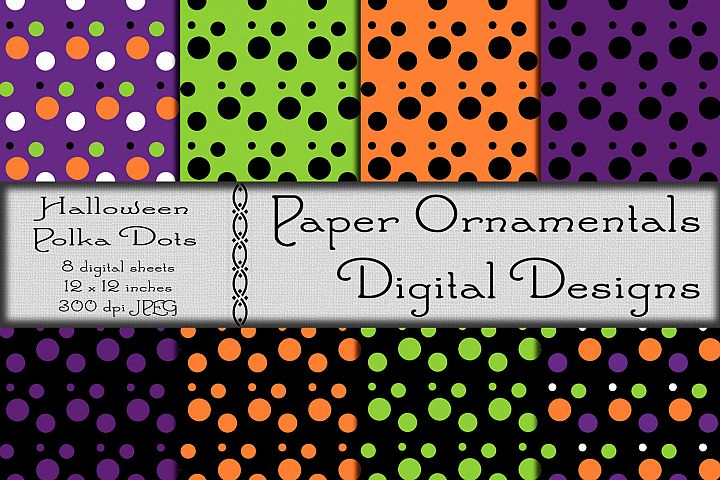 Halloween Polka Dot Digital Paper For Crafts & Background