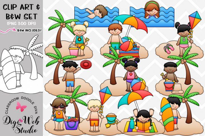 Clip Art / Illustrations - Beach Fun Kids