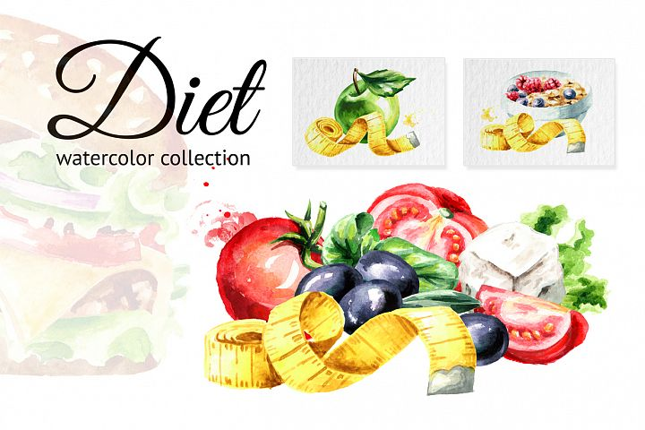 Diet. Watercolor collection