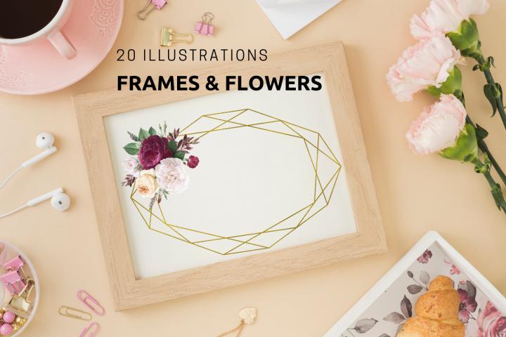 20 Geometric Frames, Frames with Vintage Flowers, Wedding