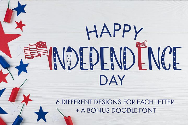 Happy Independence Day - 6 Designs With Bonus Doodles