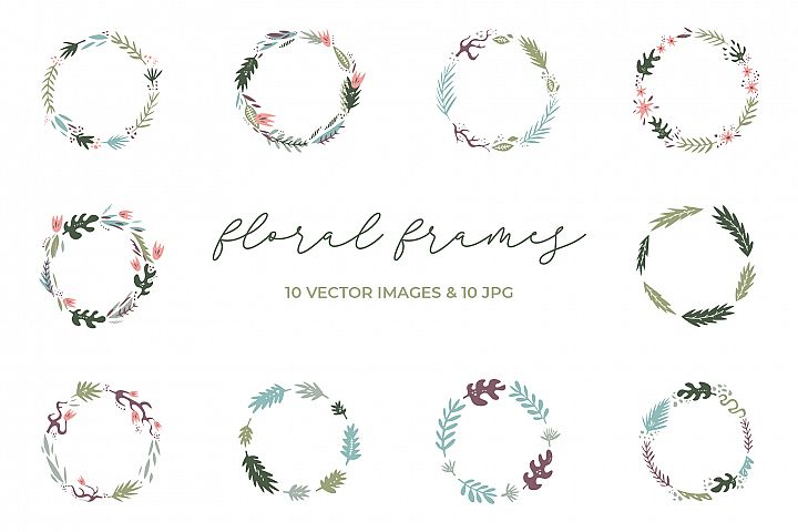 Floral frames clip art set