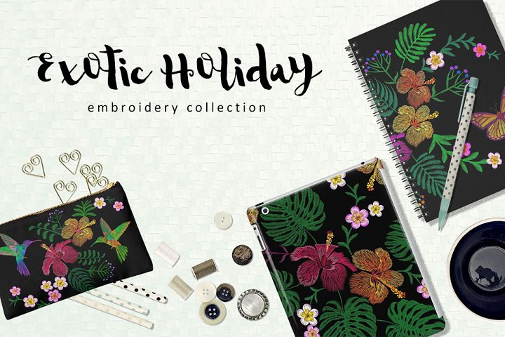 Exotic Holiday Vector Embroidery Print Set
