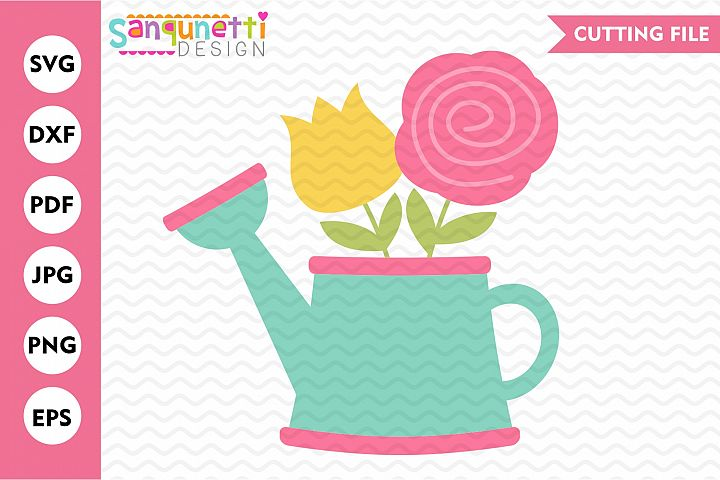 Watering can svg spring floral cut file gardening cut