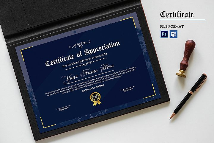 Certificate template, MS Word & Photoshop Template