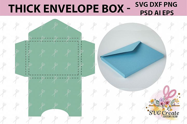 Envelope template box thick svg cut file paper cut photo