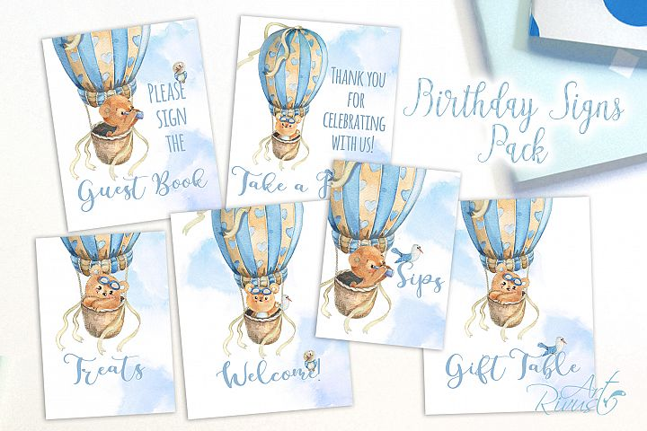Printable Hot Air Balloons Baby Shower Table Signs - 6 Signs
