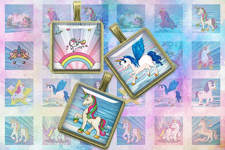 Unicorns,Unicorn Digital Collage Sheet,Square images,Unicorn