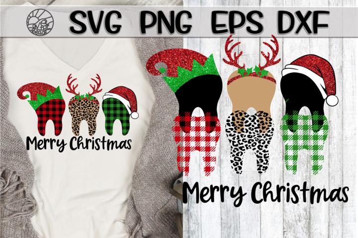 Merry Christmas - Teeth - Plaid - SVG PNG DXF EPS