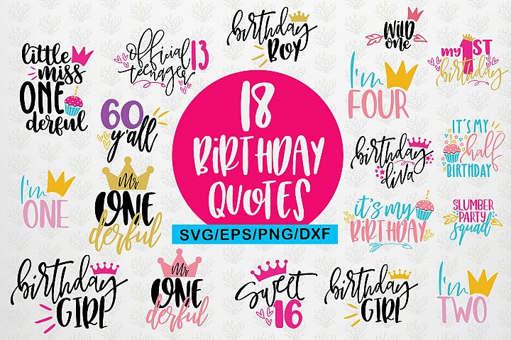 Birthday Quote Bundle SVG DXF PNG EPS Cutting Files