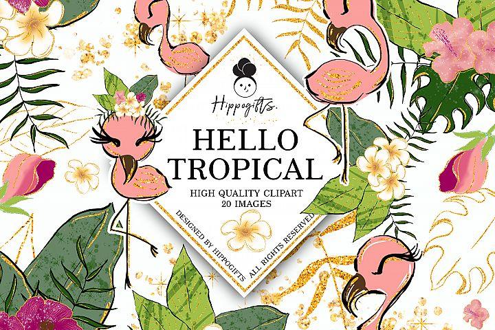 Tropical Clip art,flamingo clip art