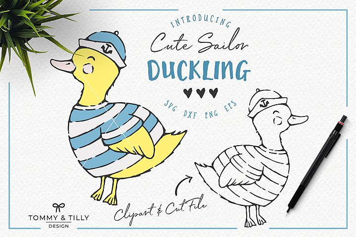 Hand Drawn Sailor Duckling - Clipart & Cut File PNG SVG DXF