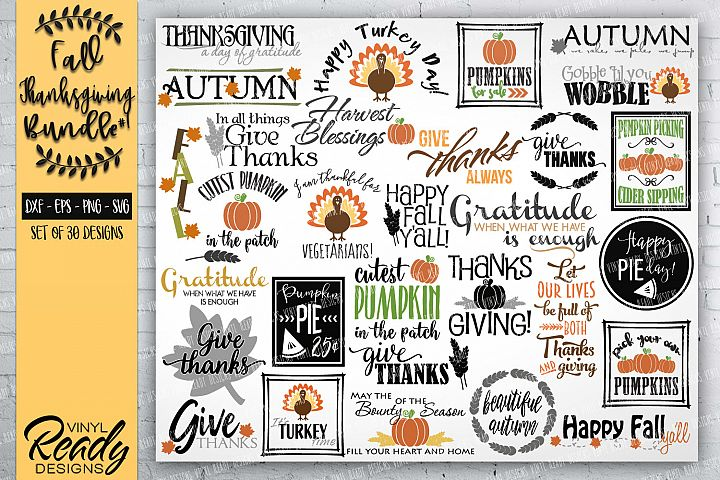 Fall Autumn Bundle #1- 30 designs - Vector Clip Art Files