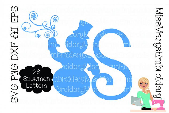 Snowman Swirl Letters SVG Cutting File