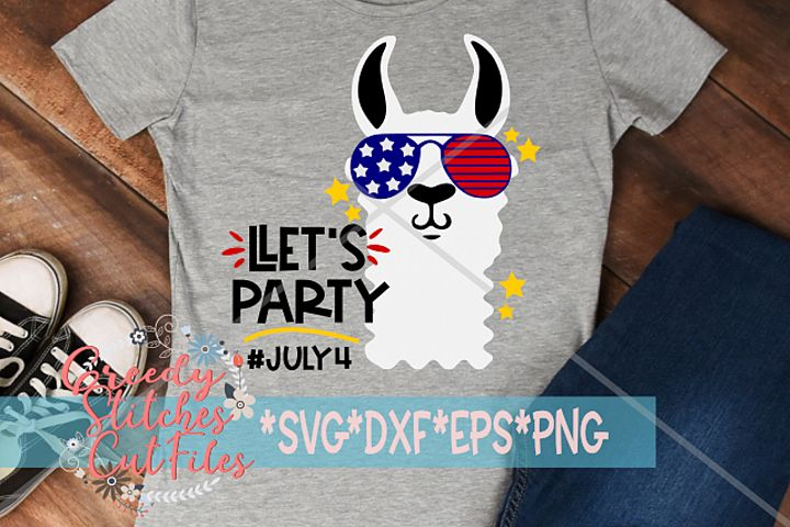 Llets Party SVG| July 4th Llama| Independence Day