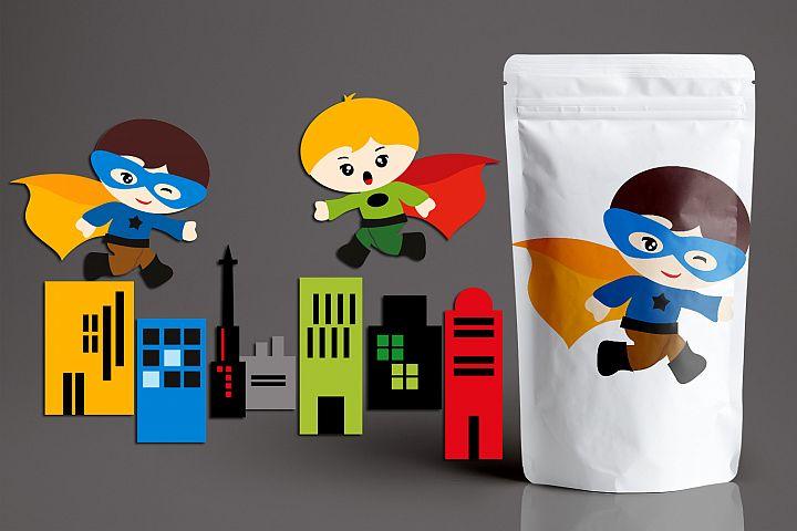 Superhero buildings and running boy graphics