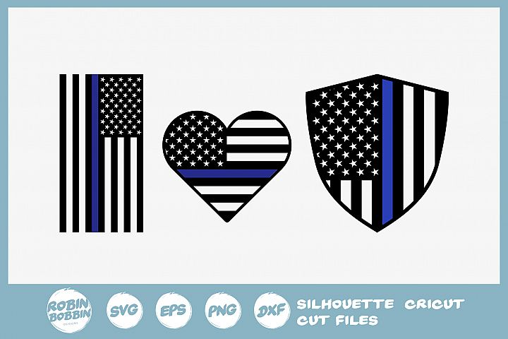 Police Flag SVG - Police Heart SVG - Police Badge SVG