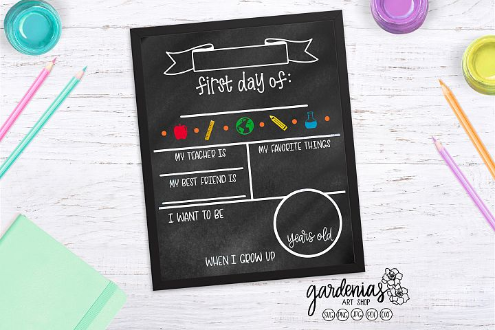 First Day of School Board SVG | Chalkboard Template Cut File