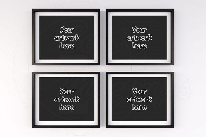 4 horizontal black frame mockup 10x8