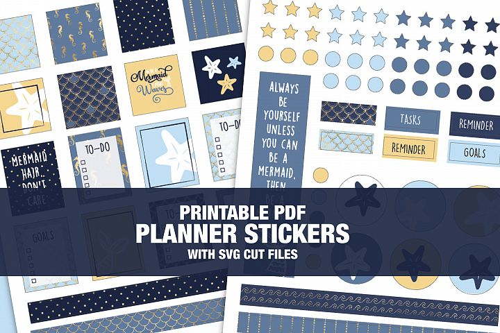 Mermaid Theme Planner Stickers With CUT FILES