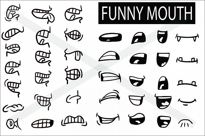 Mouth Cartoon Set - SVG EPS JPG P