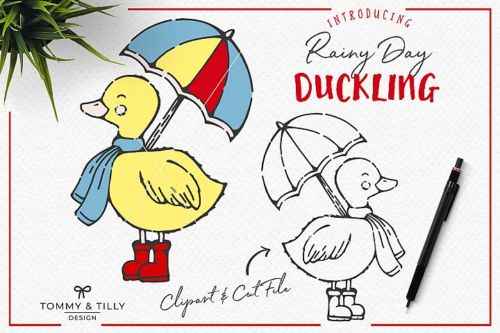 Hand Drawn Rainy Day Duckling - Clipart & Cut File PNG SVG