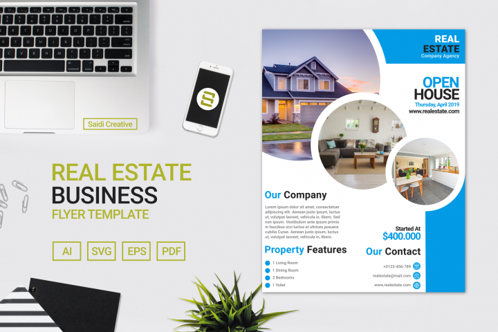 Real Estate Business Flyer Template Design with Blue Circle