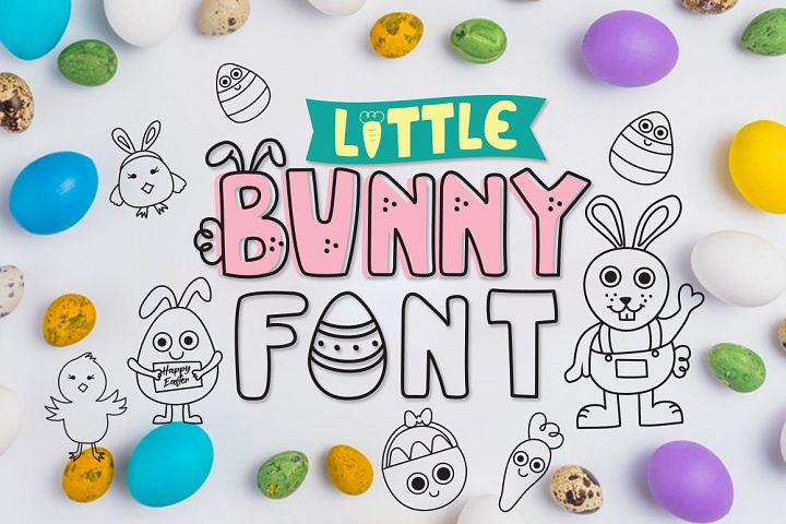 Little bunny font with easter doodles