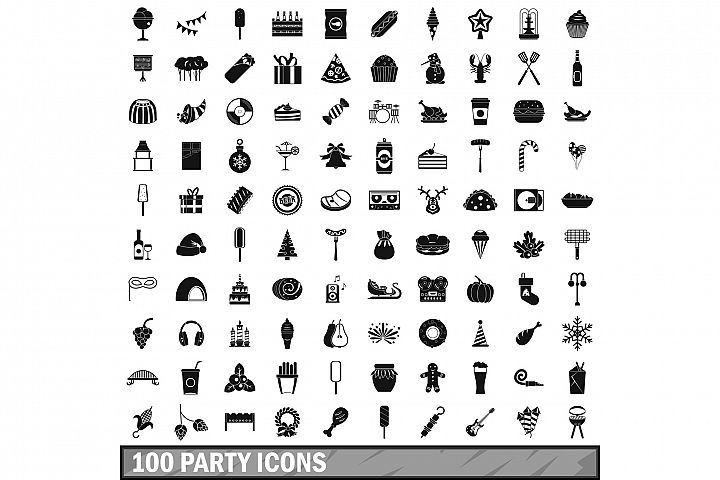 100 party icons set, simple style