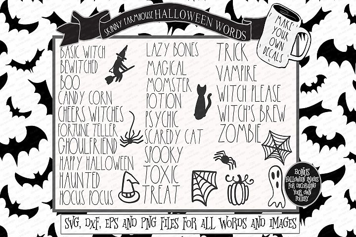 Skinny Farmhouse Halloween Words for Decals Cutting Files