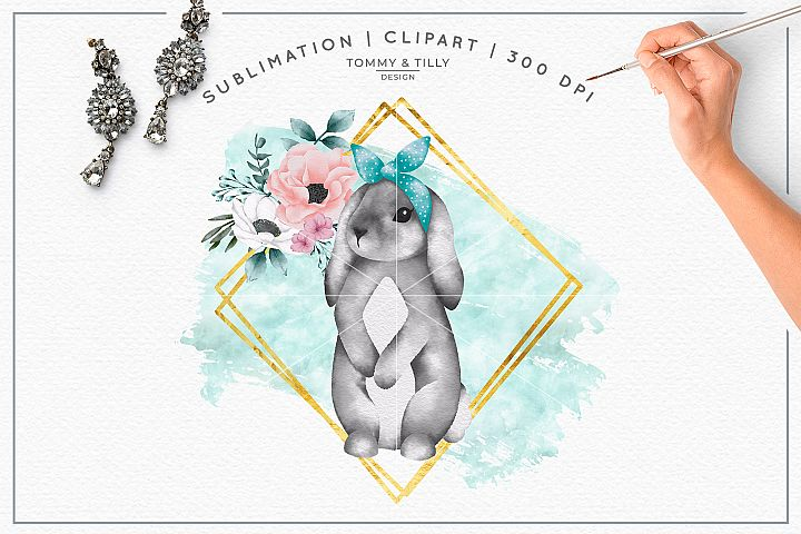 Geometric Frame Floral Bunny - Sublimation PNG Clipart