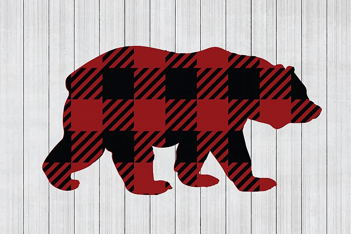 Buffalo Plaid Bear SVG, Animal SVG, Cuttable File