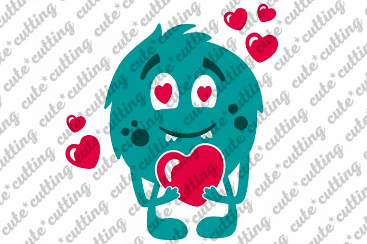Valentine monster with heart svg, dxf, png, jpeg, pdf