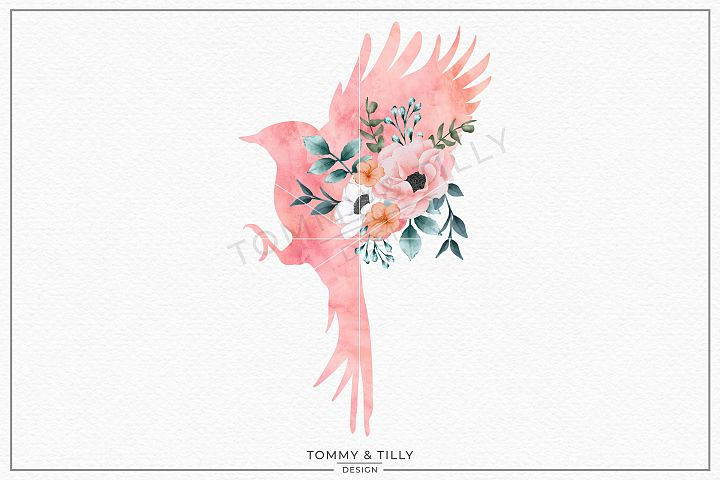 Bird No.1 Watercolour Silhouette - Sublimation PNG Clipart