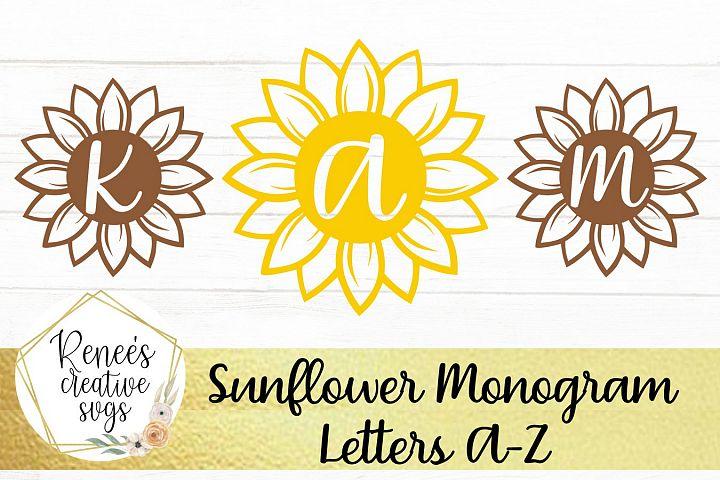 Sunflower Monogram Letters| Flower SVG| SVG Cutting File