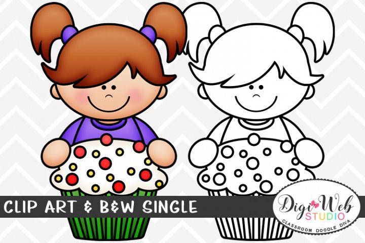 Clip Art & B&W Single - Topper Girl w/ A Christmas Cupcake