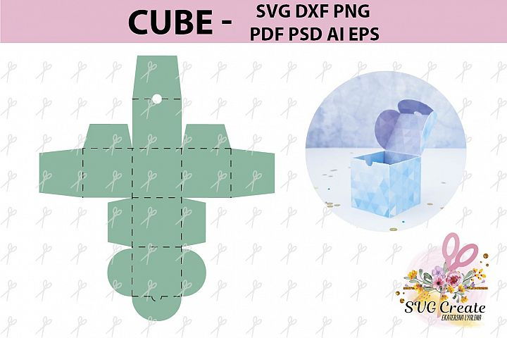 Cube favor box template, pdf favor box, box template pdf