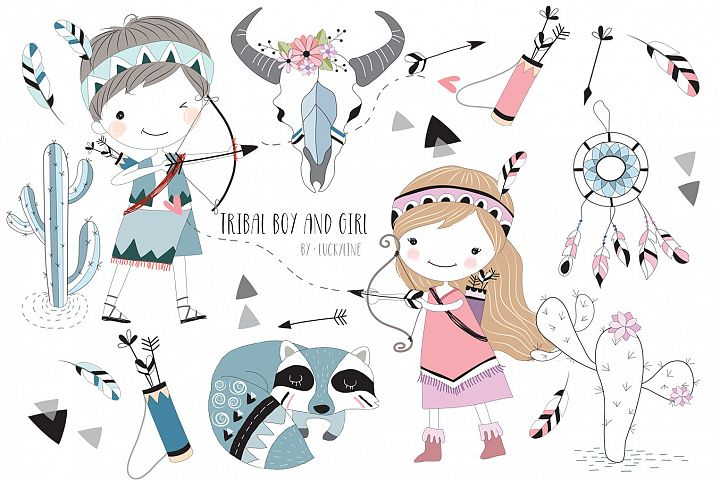Cute tribal boy and girl clipart